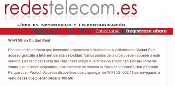 redestelecom - 5/3/2015 - Wifi 5G en Ciudad Real