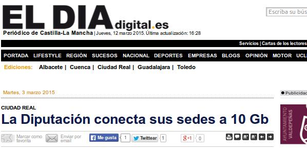 eldiadigital.es - 5/3/2015 - La Diputación conecta sus sedes a 10 Gb