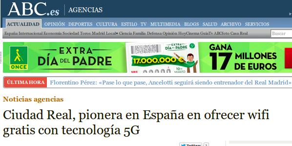 ABC - 25/02/2015 - Ciudad Real, pionera en España en ofrecer wifi gratis con tecnología 5G