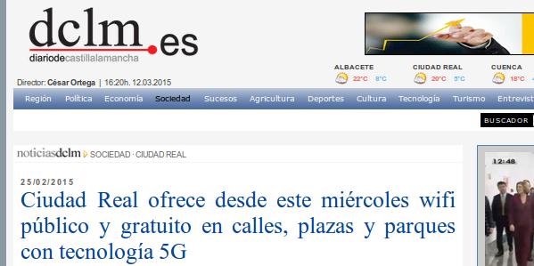 dclm.es - 25/02/2015 - Ciudad Real ofrece desde este miércoles wifi público y gratuito en calles, plazas y parques con tecnología 5G