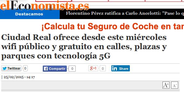 eleconomista.es - 25/02/2015 - Ciudad Real ofrece desde este miércoles wifi público y gratuito en calles, plazas y parques con tecnología 5G