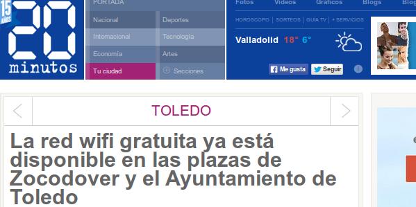 /20 minutos - 27/03/2015 - La red wifi gratuita ya está disponible en las plazas de Zocodover y el Ayuntamiento de Toledo