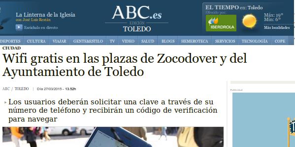 ABC - 27/03/2015 - Wifi gratis en las plazas de Zocodover y del Ayuntamiento de Toledo
