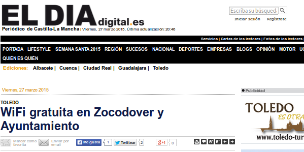 eldiadigital.es - 27/03/2015 - WiFi gratuita en Zocodover y Ayuntamiento
