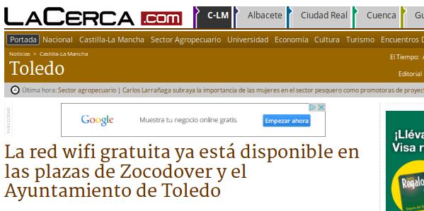 LaCerca.com  - 27/03/2015 -La red wifi gratuita ya está disponible en las plazas de Zocodover y el Ayuntamiento de Toledo
