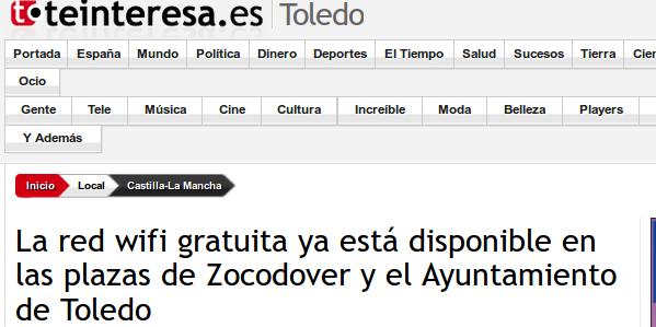 teinteresa.es - 27/03/2015 - La red wifi gratuita ya está disponible en las plazas de Zocodover y el Ayuntamiento de Toledo